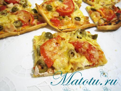 Рецепт пиццы с курицей