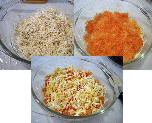 Рецепт салата из морковки и сыра колбасного