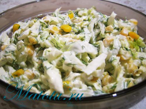 салат из капусты кукурузы курицы