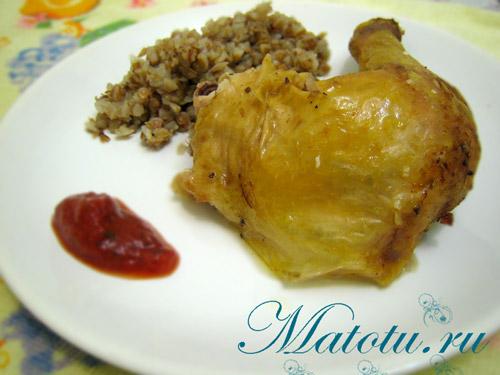 Курица в духовке с гречкой