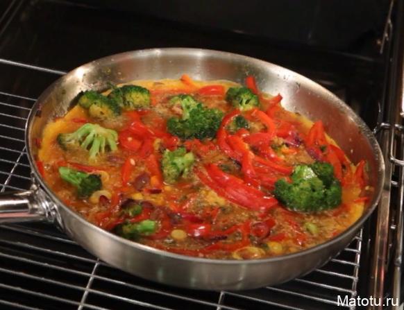 Рецепт фриттаты с брокколи и сладким перцем