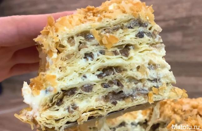 Рецепт торта Грибной Наполеон